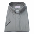 161. Men's Short-Sleeve Tab-Collar Clergy Shirt - Gray