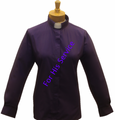 Ladies Long-Sleeve Clergy Shirt (Tab-Collar) in Purple