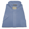 Men's Short-Sleeve Tab Collar Clergy Shirt - Light Blue Men's Clergy Shirts