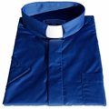 Men's Short-Sleeve Tab Collar Clergy Shirt - Royal Blue - Clergy Shirts for Men