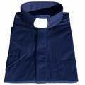 Men's Short-Sleeve Tab Collar Clergy Shirt - Navy Blue - Clergy Shirts for Men