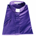 Women's Short-Sleeve Tab Collar Clergy Shirt - Purple - Ladies Clergy Shirts