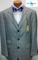 Steve Harvey 3-Button Vested Plaid Suit - Light Gray