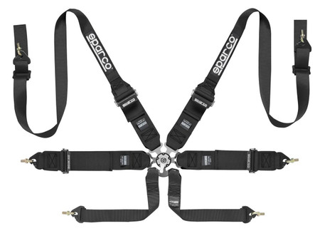 Sparco 6 Point Harness HANS Black