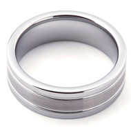 Grooved Satin Band Polished Tungsten Ring