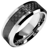 Men's Tungsten Carbide Wedding Band with Carbon Fiber Inlay 8.0mm