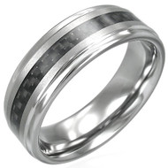 Tungsten Carbide 8.0mm Carbon Fiber Wedding Band