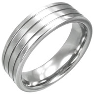 Tungsten Carbide 8.0mm Grooved Band Ring