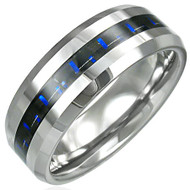 Tungsten Carbide 2-tone (blue/black) Inlay Beveled Edged Ring