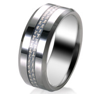 White Carbon Fiber Inlay 8.0mm Tungsten Carbide Ring
