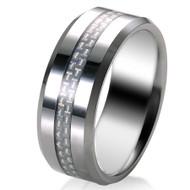 White Carbon Fiber Inlay 8.0mm Tungsten Carbide Ring