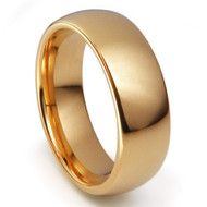 Domed Gold Tungsten Carbide 8.0mm Ring