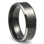 Polished Bevel Edge 8.0mm Black Tungsten Ring
