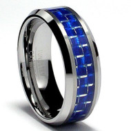 Tungsten Carbide Ring Wedding Band 8.0mm Blue Carbon Fiber Inlay