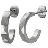 Tungsten Carbide Half Hoop Earrings (pair)