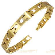 Wide Tungsten Carbide 8.0mm Cross Link Bracelet with Magnets