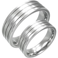 Matching Three Grooved 6.0mm Tungsten Bands