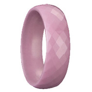 Pink Ceramic Faceted Ring