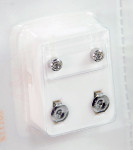 Studex Ear Piercing Silver Color/Stainless Steel Diamond Stone Studs 12 pack R204W