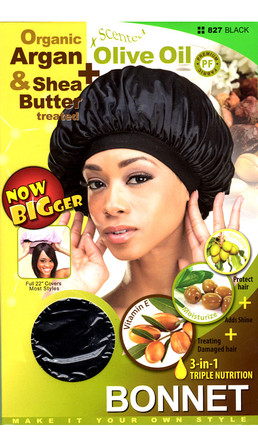M&M HeadGear Qfitt Organic Argan Oil, Shea Butter & Olive Oil Treated Bonnet #827