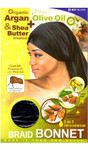 M&M HeadGear Qfitt Argan, Olive Oil, Shea Butter Treated Braid Bonnet