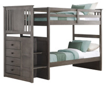 Perry Grey Twin/Twin  Stairway Bunkbed With Built-In Chest