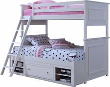 Angel White Twin/Full Bunkbed With Drawer & Shelves