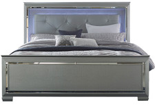 Annie Silver Upholstered Lighted Bed