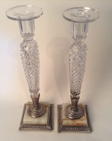 Elegant Pair of Cut Glass Candlesticks