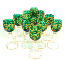 Emerald Green St.Louis glasses, circa 1880's set of 11