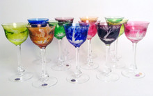 12 Moser Jewel Tone Crystal Wine Glasses