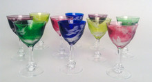 10 Jewel Tone Crystal Cordial Glasses by Moser