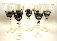 Black threaded Goblets set of 8