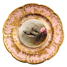 18 Rare Antique Coalport Fish Plates, Pink Heavy Gold. Custom for Exhibition 1893