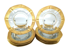 12 Gilt, 24k  trim glass dessert plates