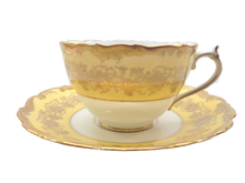 Set of 6 Coalport Yellow & Gold Cup Saucer