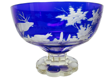 19th Century Cobalt Blue Cut To Clear Glass Centerpiece