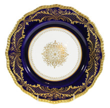 12 Antique Cobalt Dinner Plates, Doulton Burslem