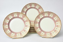 12 Stunning Pink & Raised Gilded Dessert or Salad Plates
