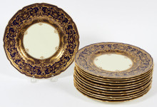 12 Elaborate Gilt Encrusted Salad or Dessert Plates, Custom Royal Doulton, England
