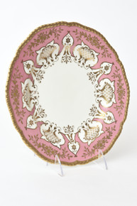12 Pink Heavily Gilded Antique English Plates, Coalport. Dinner Size