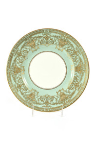10 Aqua Green Heavy Gilt Encrusted Dinner Plates. Royal Worcester England