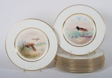 "12 Vintage Lenox Hand Painted Game Bird Plates. Large 10.5"" Diameter"