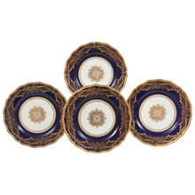 12 Stunning Antique China Dinner Charger Plates , Gilt Center Medallion