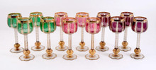 12 Tall Beautiful Jewel Tone Color Goblets