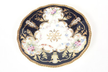 12 Elegant Dessert Plates, Antique Limoges With Hand Painted Florals Cobalt Blue