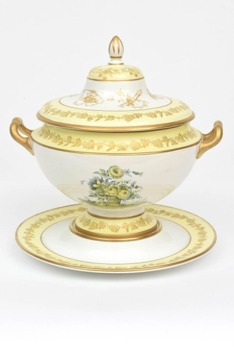Mottahedeh Vintage Soup Tureen and Stand.Yellow Scenic Decoration