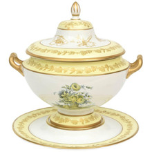 Mottahedeh Yellow Botanical Tureen, Lid and Fitted under Tray, Vintage
