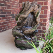 "32"" Old Country Log Garden Fountain w/ LED lights"