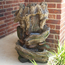 "32"" Cottage Log Garden Fountain w/ LED Lights"